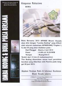 LOMBA KODING DAN BUKA PUASA BERSAMA APIKES BHUMI HUSADA JAKARTA TAHUN 2015