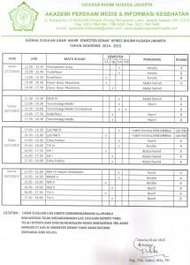 JADWAL SUSULAN UJIAN AKHIR SEMESTER GENAP TA.2014-2015