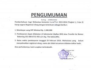 PENGUMUMAN REGISTRASI SEMESTER GENAP TA.2015-2016