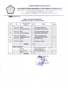 JADWAL KULIAH SEMESTER GENAP TA.2015-2016 APIKES BHUMI HUSADA JAKARTA