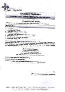INFORMASI OPEN RECRUITMENT REKAM MEDIS / MEDICAL RECORD