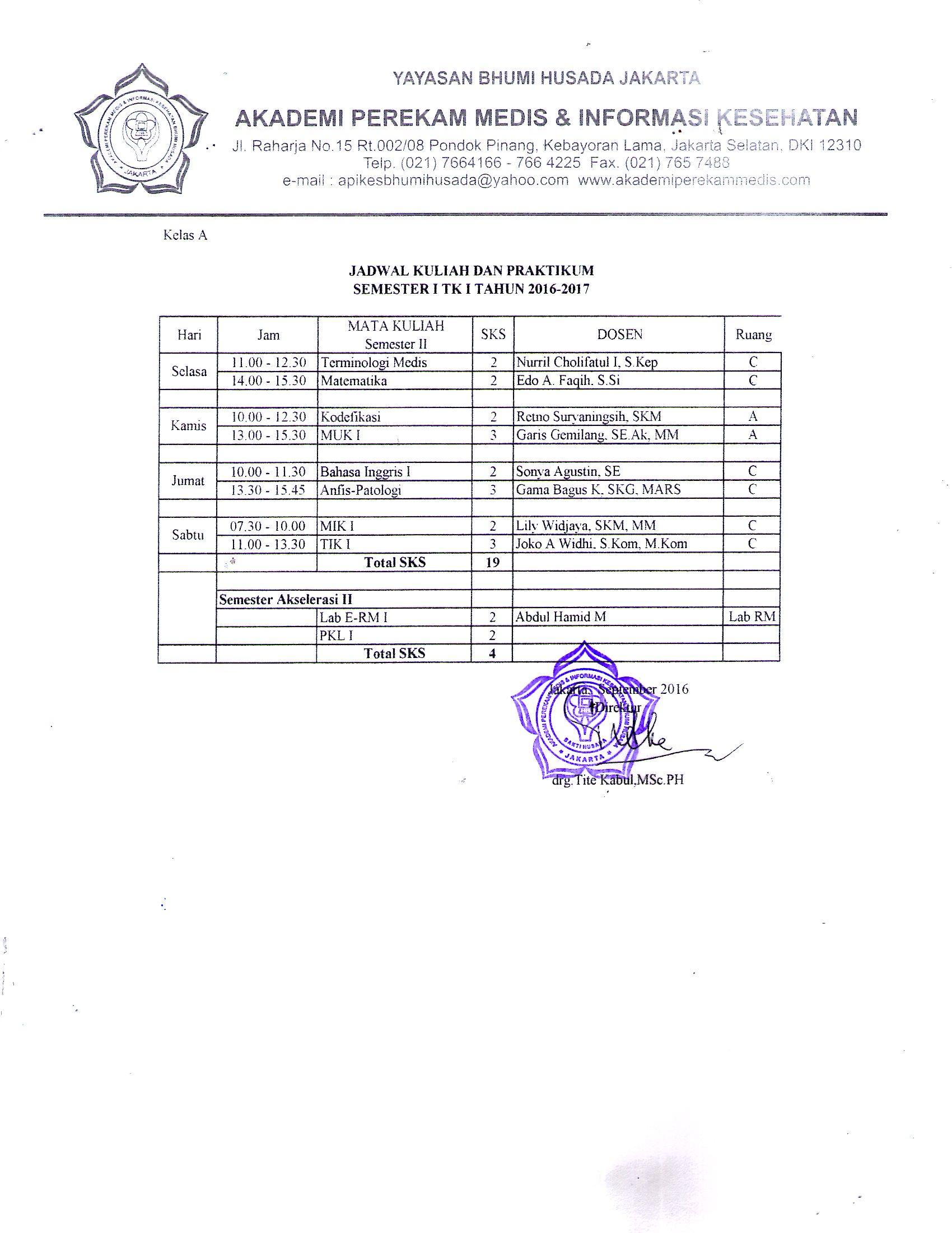 Jadwal Kuliah Semester Ganjil Tahun Ajaran 2016-2017