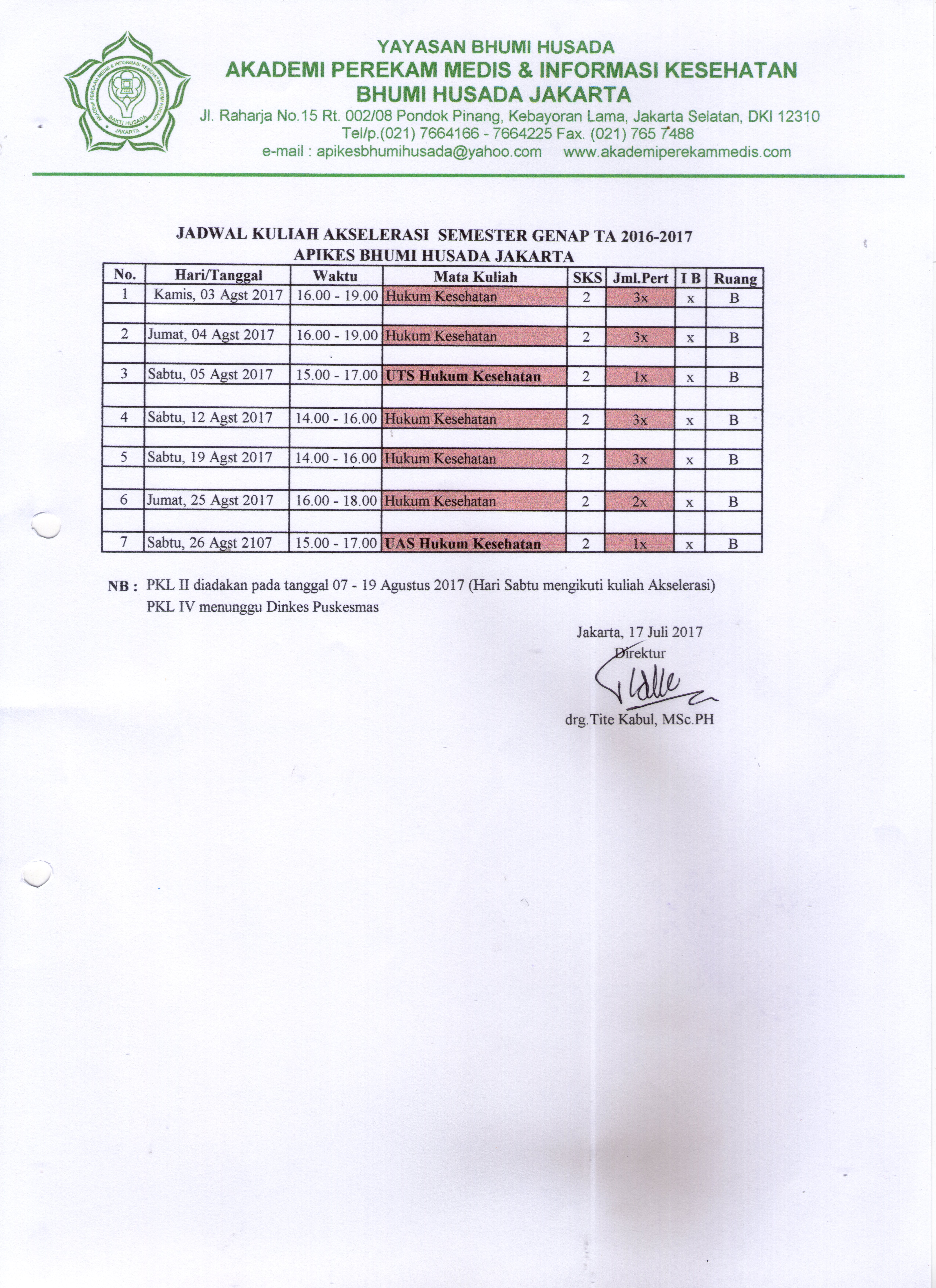 Jadwal Kuliah Akselerasi TA 2016-2017