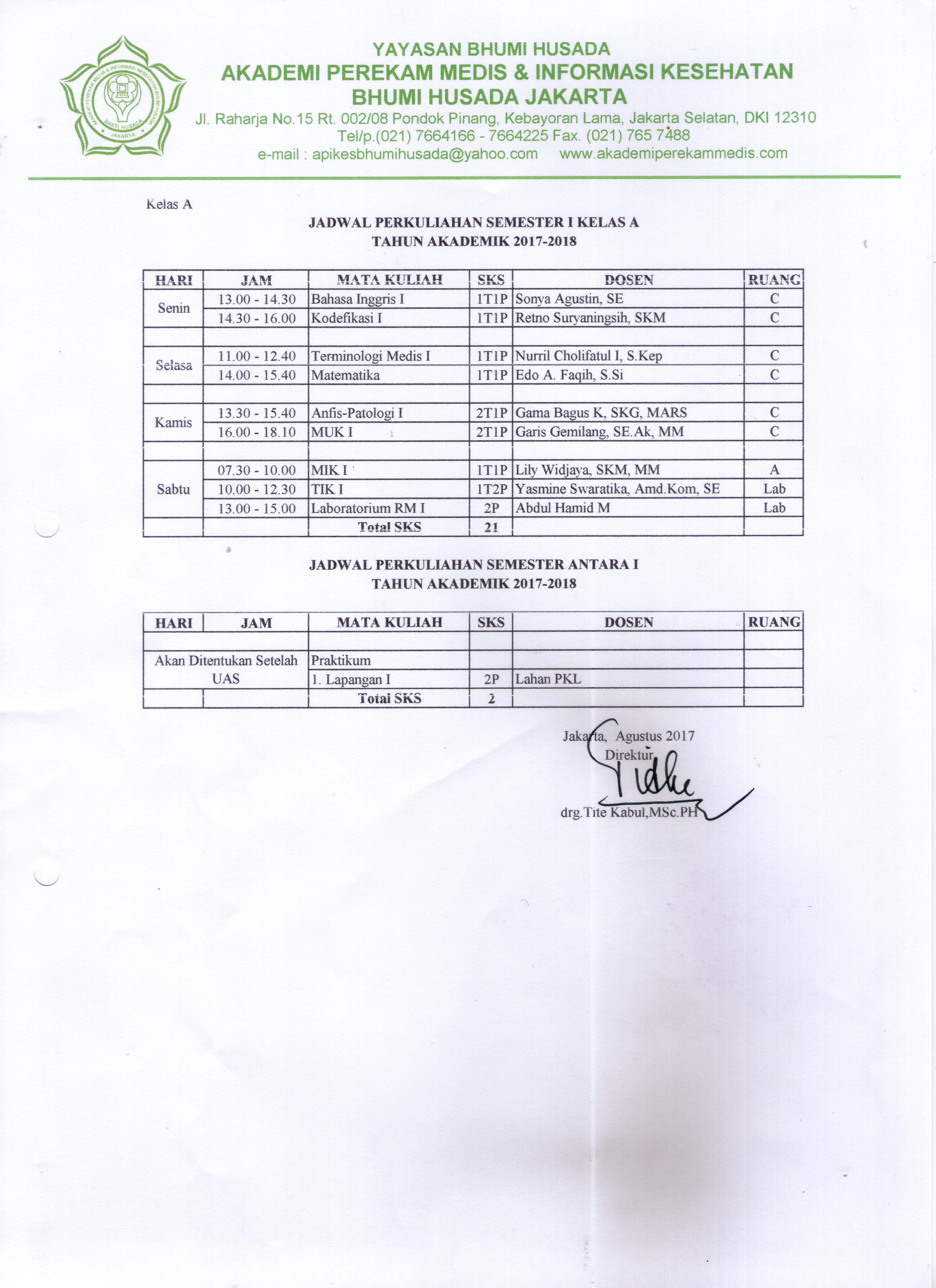 Jadwal Kuliah Semester Ganjil Tahun Ajaran 2017-2018
