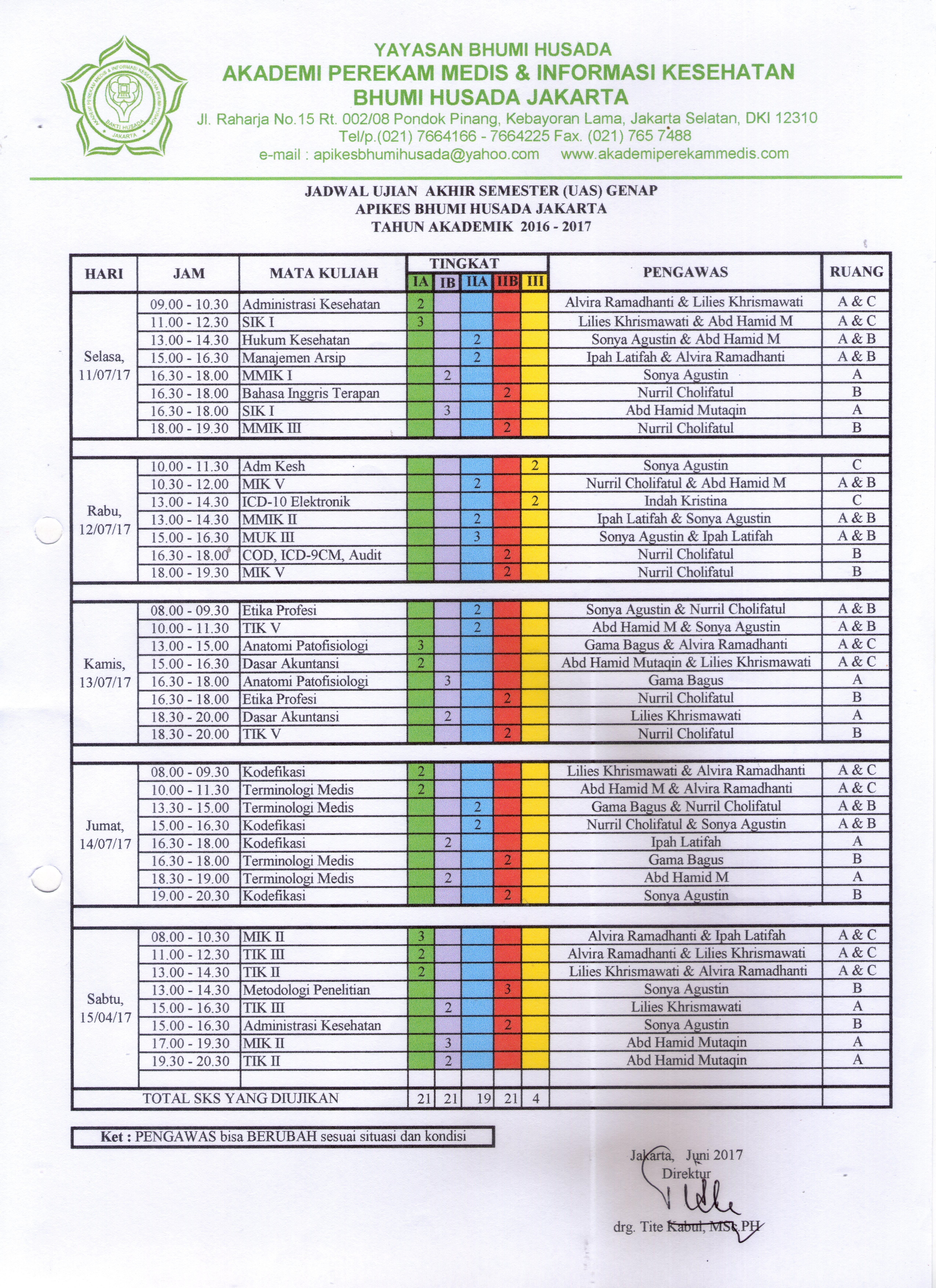 Jadwal Ujian Akhir Semester (UAS) Semester Genap 2016-2017