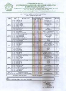 Jadwal Ujian Akhir Semester (UAS) Semester Ganjil 2017-2018
