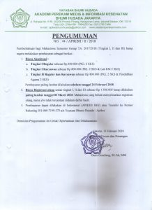 Pengumuman Registrasi Ulang Semester Genap TA 2017/2018