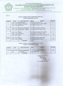 Jadwal Kuliah Semester Ganjil Tahun Ajaran 2018-2019