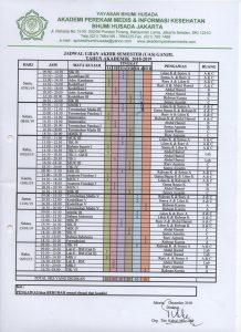 Jadwal Ujian Akhir Semester (UAS) Semester Ganjil 2018-2019